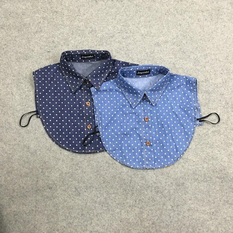 Ahkuci 2017 Women Denim Blouse Nep Kraagje Summer Vintage Jean Detachable Fake Collars for Women Men