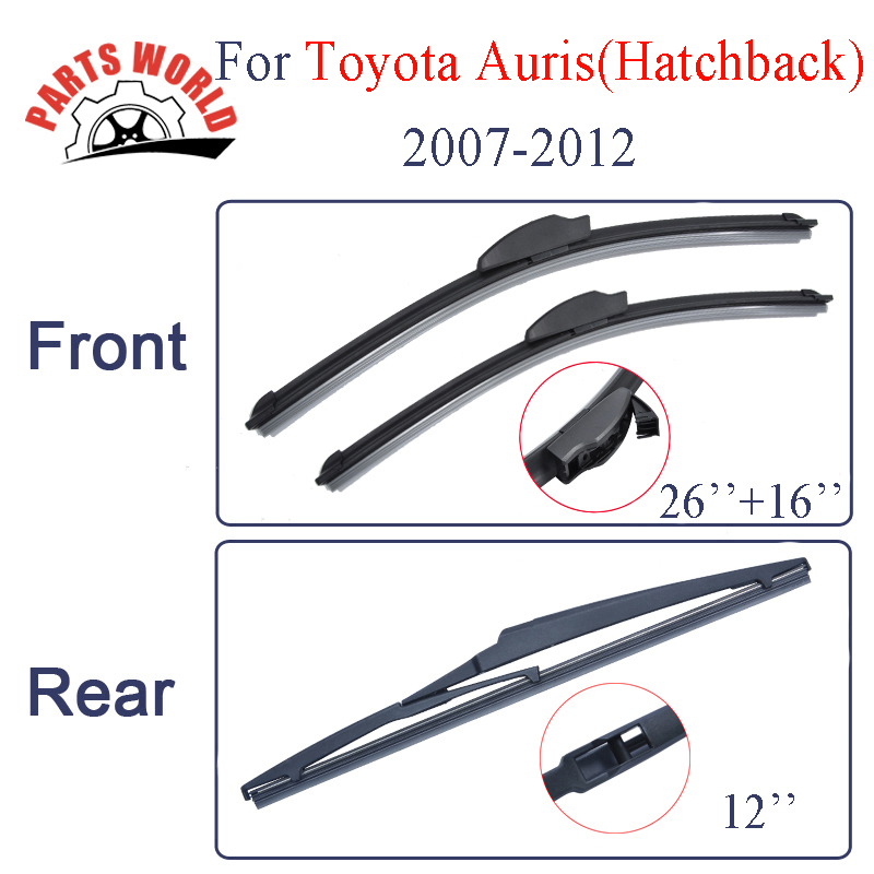 Front And Rear Wiper Blades For Toyota Auris Hatchback 2006 2007