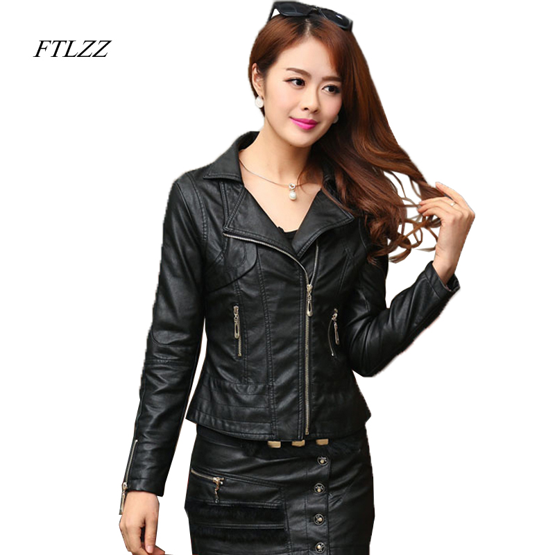 67e4ca2a2f994 FTLZZ Autumn Faux Pu Leather Jacket Women Slim Punk Style Short Design Long  Sleeve Turn down Collar Zipper Leather Coat Plus 4xl-in Leather   Suede  from ...