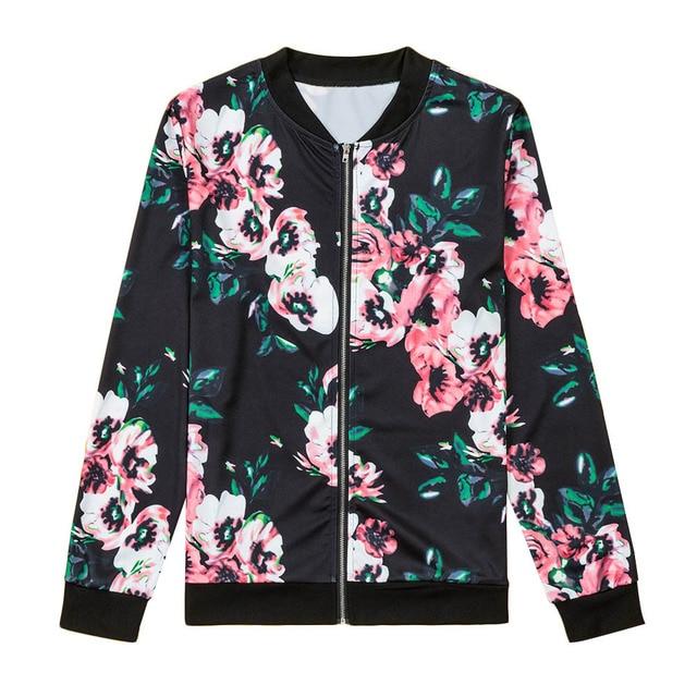 Floral Printed Women Jacket Long Sleeve Casual Zipper Jacket Coats 2017 Autumn Zipper Casual Jackets Outwear Women Basic Coats 4