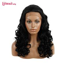 L-email wig Black Curly Lace Front Wigs 50cm Long Hair Wig Women Hair Heat Resistant Synthetic Hair Perucas(China)