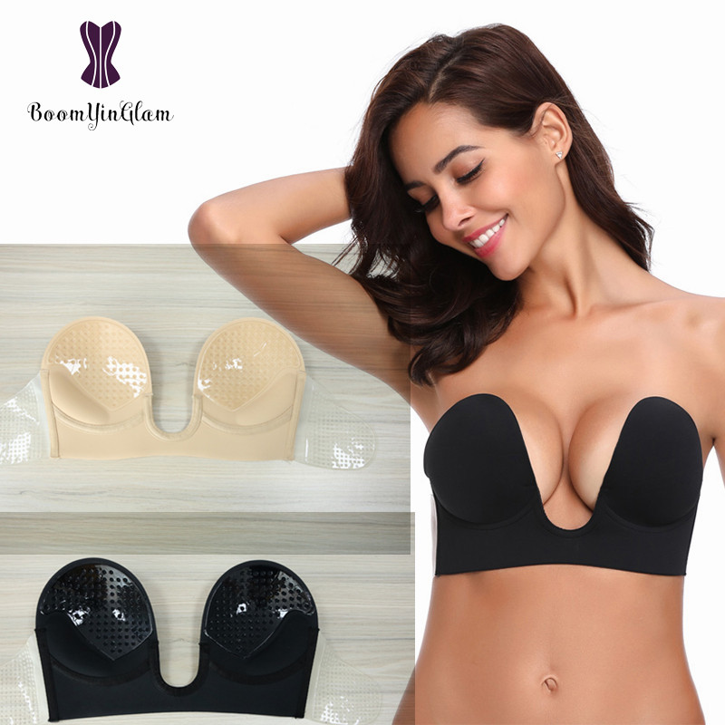 free shipping popular design matching in colour US $3.75 6% OFF|Invisible Strapless Bra U Plunge Under Wired Super Hold  Backless Bra With Silicone Pad And Sticking Wings Adhesive Bra 9006#-in  Bras ...