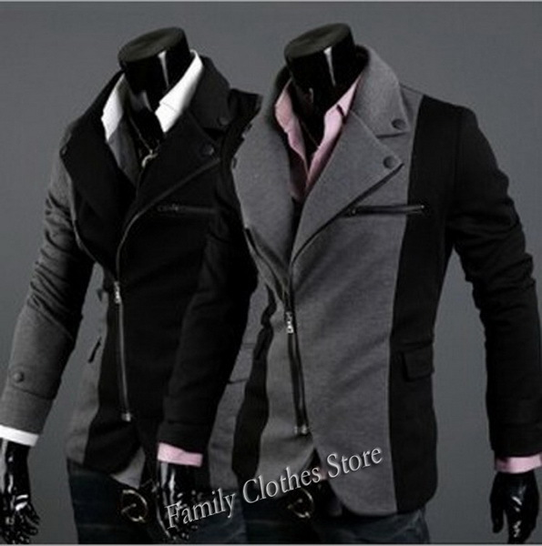 New Arrival Pea Coat Fashion Designer Mens Black/Gray Fitted Coat ...