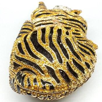 Bolso De Mano Dorado | Boutique De FGG Elegante Mujer Oro Tigre Embrague Minaudiere Noche Bolsos Diamante Boda Bolso Nupcial Monedero Fiesta Cena Bolsa