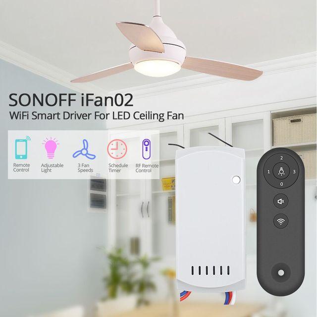 SONOFF iFan02 controlador de velocidad de ventilador Dimmer interruptor inteligente ventiladores de techo luz conductor Wifi Control remoto soporte Alexa de Google