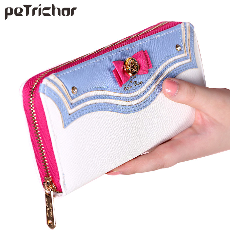 2017 Kawaii Sailor Moon Designer Leather Long Wallet Women Japanese Fashion Brand Lady Zipper Purse Lovely Handbag Clutch Famale fashion women leather wallet clutch purse lady short handbag bag women small purse lady money bag zipper luxury brand wallet hot