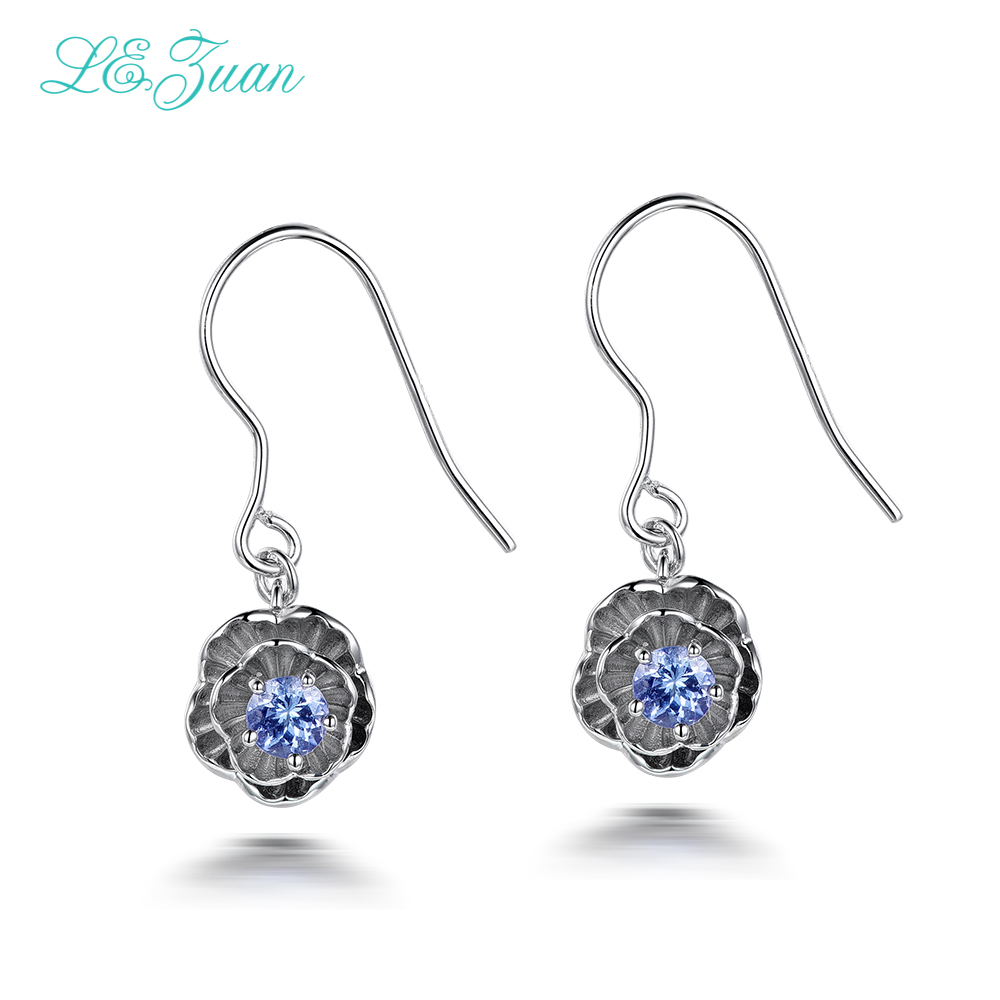 I&zuan 925 Sterling Silver Earrings 0.2ct Natural Tanzanite Romantic Lotus Flower Drop Earrings Fine Jewelry For Women