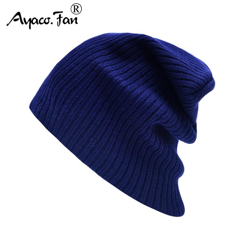 New Autumn Winter Caps for Women Men Cute Solid Striped Warm Soft Knitted Hats Knit Cap Women's   Skullies     Beanies   Bonnet Hat
