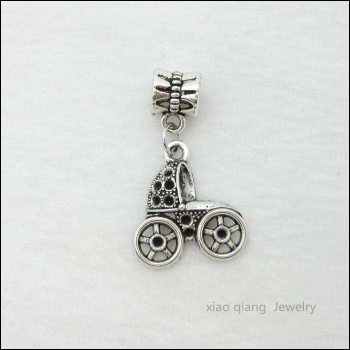 Free Shipping 25pcs Stroller Tibetan Silver Bead Charm