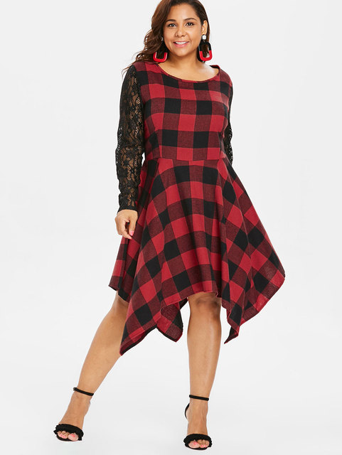bdec3f8e36 Wipalo 2018 Autumn Retro Women Plus Size Plaid Lace Panel Casual Dress Long  Sleeve O-