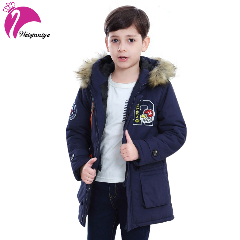 weiqinniya Boys Down Jackets Winter Jacket For Boy Fashion Children Windbreaker Parka Coat Russian For Boy Thick Fur Hooded Coat