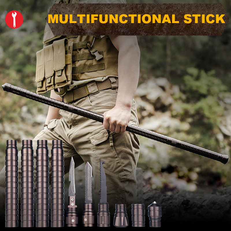 Multi-Functional Outdoor Camping Survival DIY Self Defense Weapon Stick Safety Trekking Pole Protection Rod Hiking Emergency