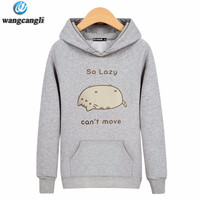2017 Newest Women Men Long Sleeve Outerwear Lazy Cat Animal Print 3D Sweatshirt Street Hipster Sweatshirts