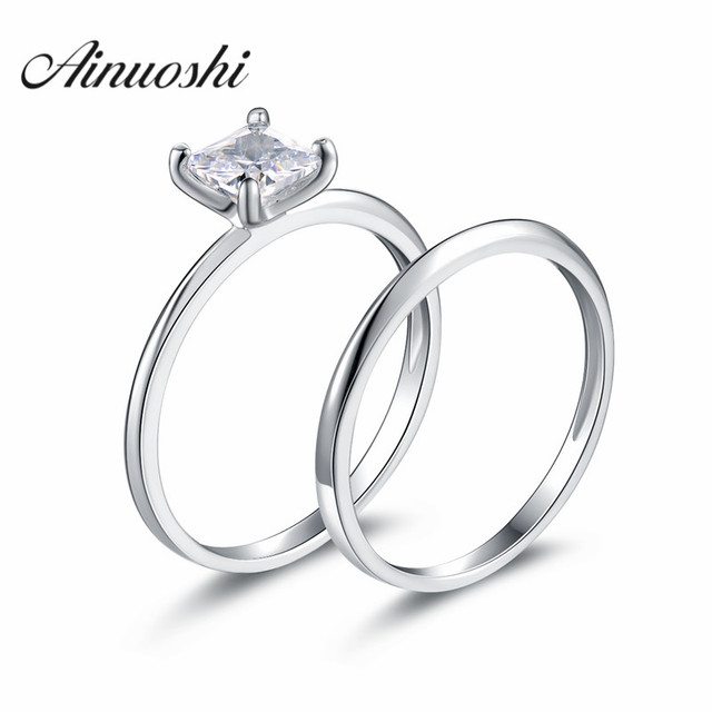 AINUOSHI Wholesale 1 Carat Princess Cut Ring Set Solid 925 Sterling Silver Bague 2pcs Engagement Wedding Bridal Ring Set Jewelry