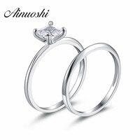 Ainuoshi оптовая продажа 1 карат Принцесса Cut кольцо набор Твердые 925 серебро Bague 2 шт. Обручение Свадебные кольца ювелирные изделия
