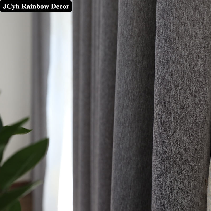 JCyh Luxury Linen Pure Blackout Curtains For Living Room Bedroom Modern Thick Curtains For Window Curtains Fabric Drapes Panel in Curtains from Home Garden