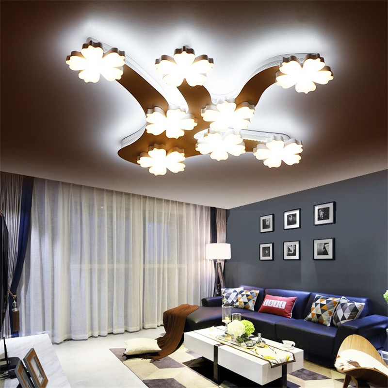 Modern led ceiling lights white ironware acryl led lamp branch plum living room bedroom led ceiling lamp home lighting fixtures black and white round lamp modern led light remote control dimmer ceiling lighting home fixtures