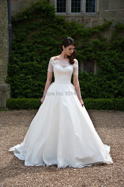 Spring Off Shoulder Short Sleeves Bridal Wedding Gown Custom Made ...