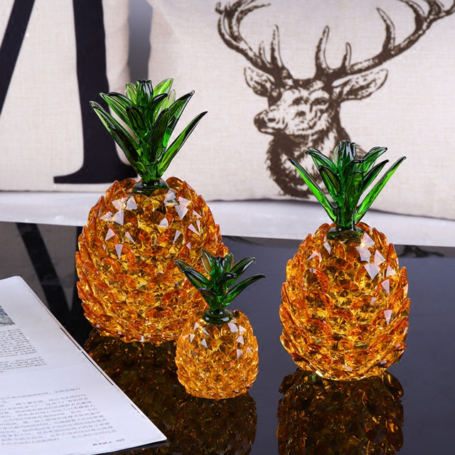 Modern Artificial crystal Pineapple home decor crafts handicraft     Modern Artificial crystal Pineapple home decor crafts handicraft plant  fruit ornament porcelain figurines wedding decorations