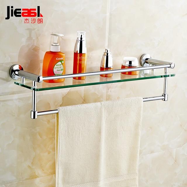 Jieshalang латунь Стекло Ванная комната полки один ярус Косметическая Chrome Ванная комната Полотенца стойки мыльница шампунь стойку 5601A