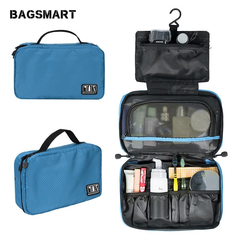 BAGSMART Пакет для путешествий Ручная портативная нейлоновая сумка для туалетных принадлежностей Легкая дорожная косметическая сумка для макияжа Унисекс Багаж