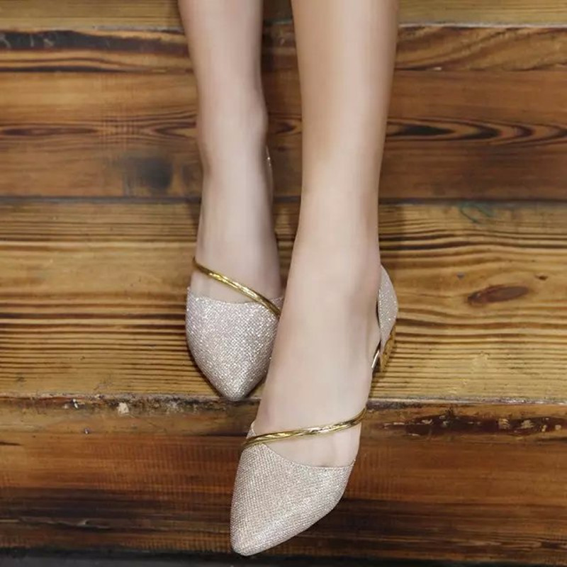 nueva primavera y verano zapatos de punta zapatos de tacón bajo sandalias plana