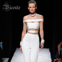 2015 Summer Free Shipping Chic Runway Design Off The Shoulder Cross Bandage Top Crop Top VJ040