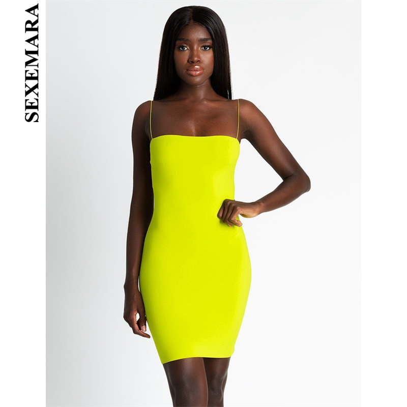 928d8fcab162 BOOFEENAA Sexy Bandage Mini Neon Dress Women Tube Bodycon Dresses Party  Night Club Wear New Trends