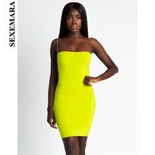 BOOFEENAA Sexy Bandage Mini Neon Dress Women Tube Bodycon Dresses Party  Night Club Wear New Trends 2019 Summer Robe Femme C66H86 c3ab7e399102