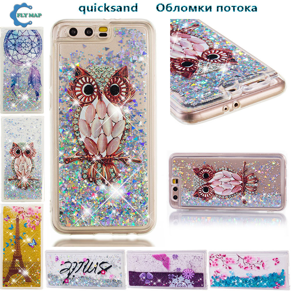 Fitted Cases Soaptree Phone Case For Huawei Honor 9 5.15 Inch Glitter Liquid Soft Tpu Cover