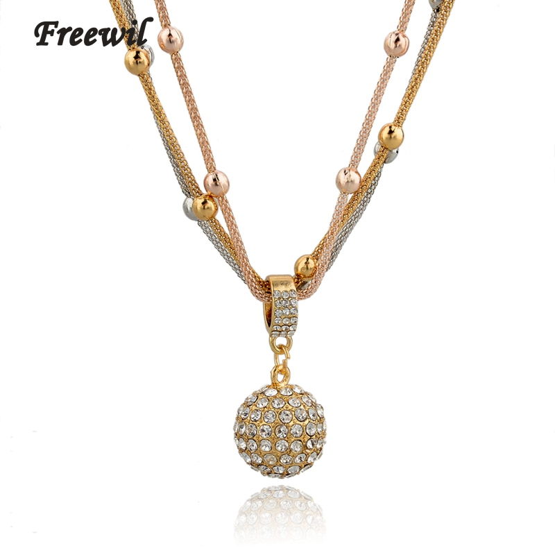 Athina Hot Sale Women Long Necklaces Gold Chain Necklace Full Rhinestone Ball Pendants custom Necklaces dropshipping SNE140451