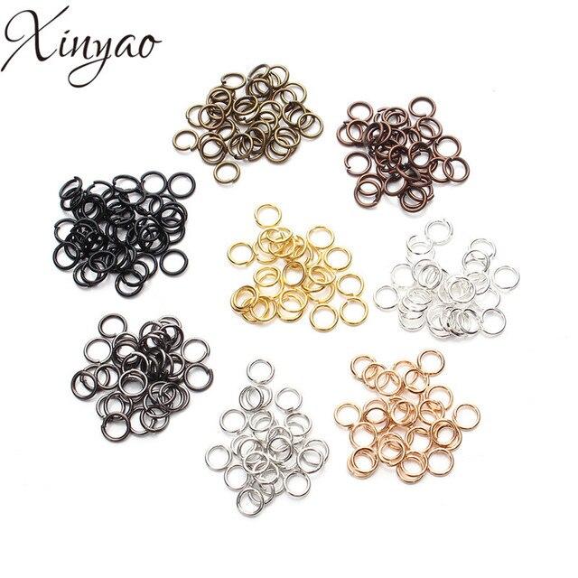 XINYAO 200 pcs/lot 4 6 8 10 mm métal sauter anneaux argent/or/Bronze couleur fendue anneaux connecteurs pour bricolage bijoux trouver fabrication