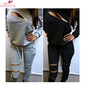 2016 Spring Tracksuit for Women Set 2 Piece Tracksuit Zip Long Sleeve Black Grey Sweatsuit Plus Size Sexy Women's Suits