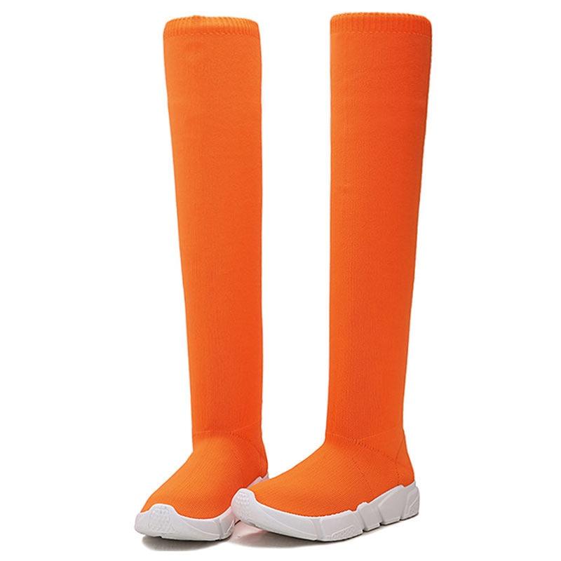 Black Tubo Para Encima De Botines Gris Alta Zapatos orange Botas Por Muslo Niñas Invierno La Sólido gray Elástica Negro Las Rodilla Mujer Mujeres Del OAxU1Wfq
