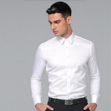 Men's Dress Shirt custom fashion New Slim Fit men Shirts Business Long Sleeve Business Suits Shirts Solid Color