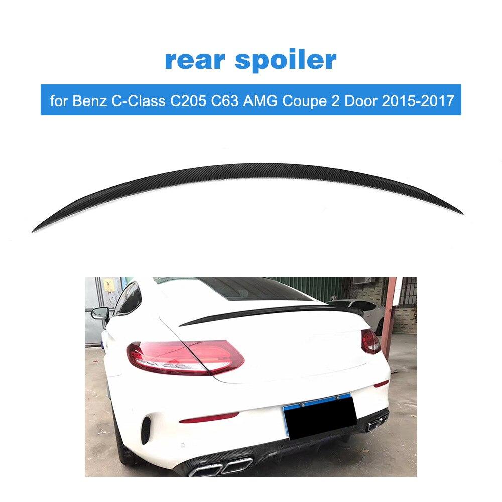 Autocollant de lèvre d'aile de toit de becquet de coffre arrière pour Mercedes Benz classe C C205 C63 AMG coupé 2 portes 2015-2017 Fiber de carbone/FRP