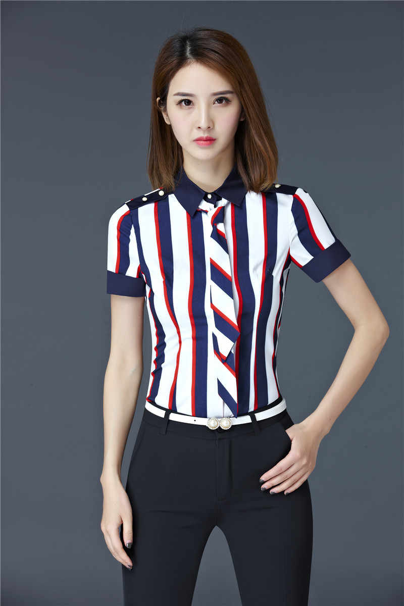 Artı Boyutu 4XL Şifon Bluzlar ve Gömlek Bayanlar Ofis Iş Elbisesi Yaz Kısa Kollu Üstleri Güzellik Salonu Giyim Moda Çizgili