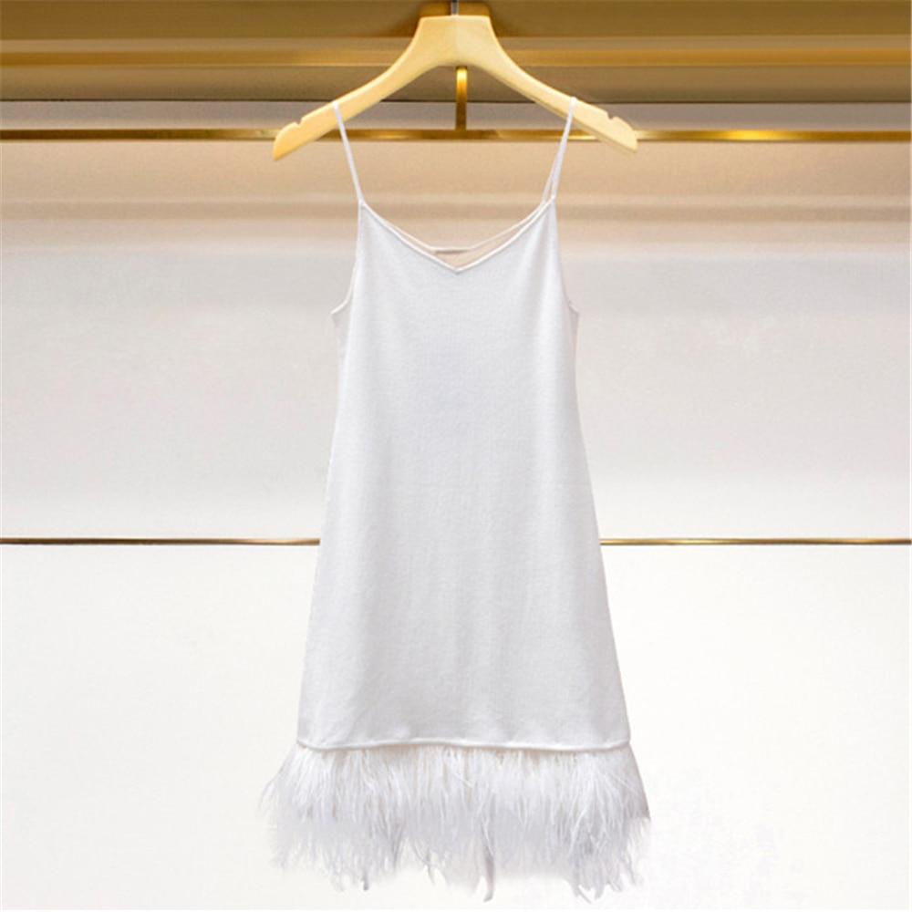 Runway Slim Party Dress High-End 2018 New Autumn Winter Sleeveless Dress Women Pullover Feathers Patchwork Robe Knit Vestido