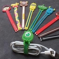 De dibujos animados de Cable organizador personalizado Cable devanadera Protector de Cable de gestión de marcador de la cubierta del soporte para auriculares iPhone Samsung MP3 USB