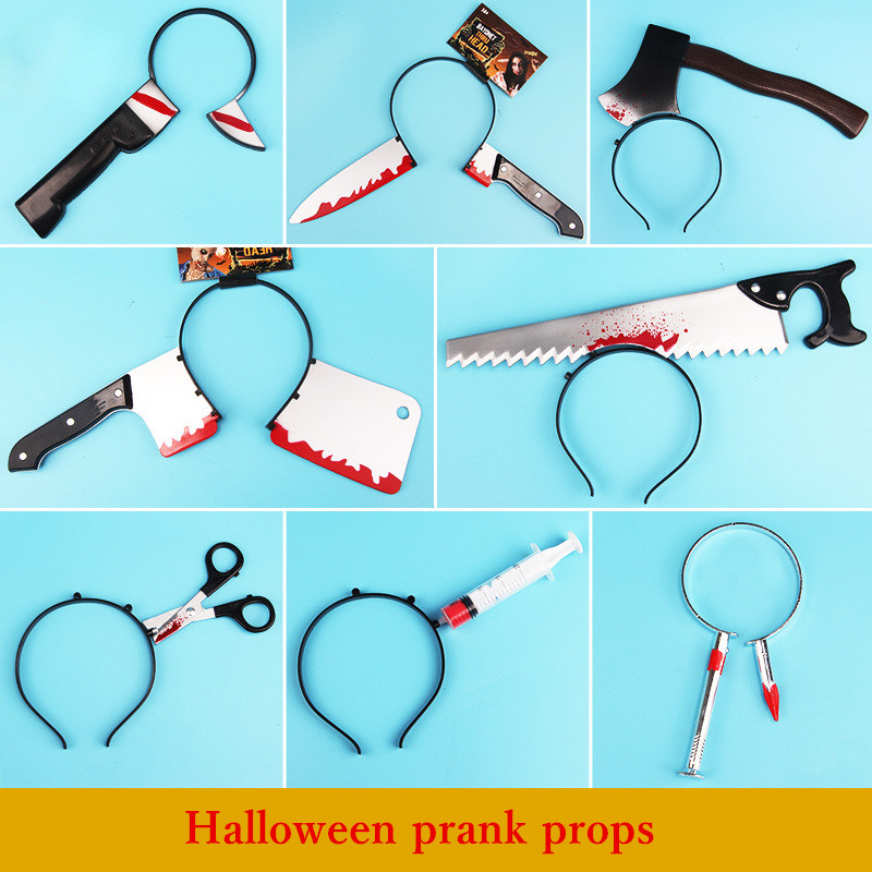 Halloween <font><b>funny</b></font> horror terrible performance props can pass through the head novelty party toy Saws,axes and knives image