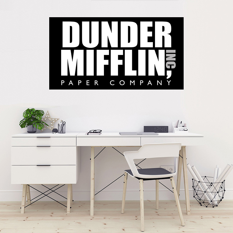 graphic regarding Dunder Mifflin Name Tag Printable named Dunder Mifflin Paper Small business Brand- The Place of work -Wall Decal Vinyl Sticker for Dwelling Inside Decoration Automobile Laptop or computer House Decor ZX599