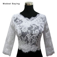 New Elegant White V Neck Applique Bridal Lace Jackets 2017 with 3/4 Sleeve Wedding Bolero Coats Wedding Accessories cape mariage