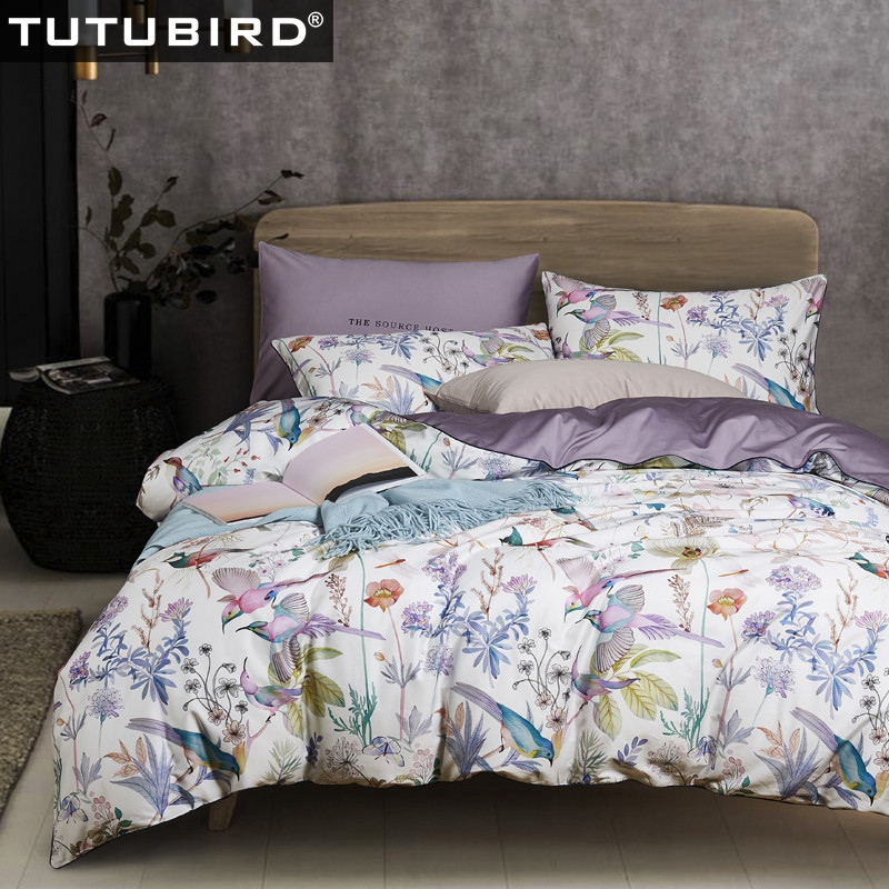 High Quality Pure Soft Sheets Satin Duvet Cover Bedspread Luxury Egyptian Cotton Bedding Set Girls Floral Birds Print Bedlinen