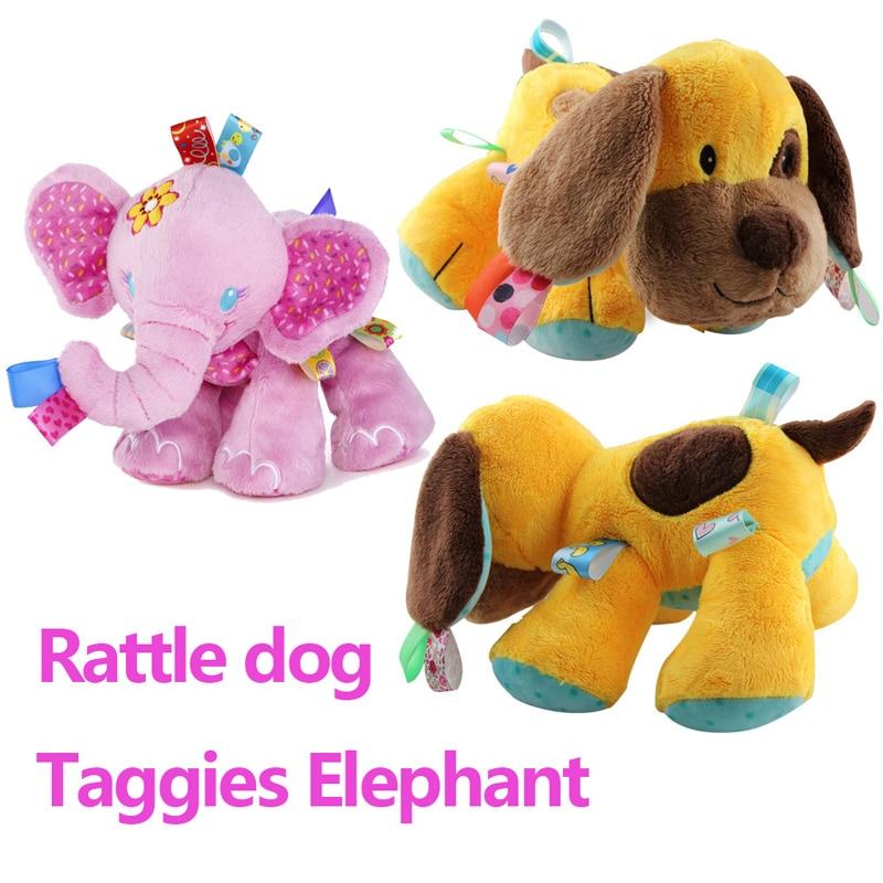 78edc04943d Taggies Elephant Rattle dog Soft Stuffed Plush Animal Crib Bed Hanging Hand  newborn Baby Toys Educational