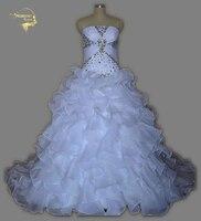 Real Photo Preiswerter Preis Beste Qualität Eine Linie Trägerlose Brautkleider 2017 Rüschen Vestidos De Noiva Kristalle Casamento UY1379