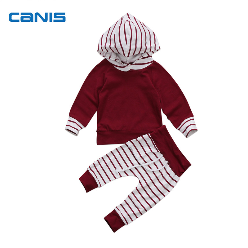 Toddler Baby Clothing Boys Girls Long Sleeve Hooded Wine Red Tops Long Striped Pants Home Outfits 2pcs AutumnSet Clothes 0-24M
