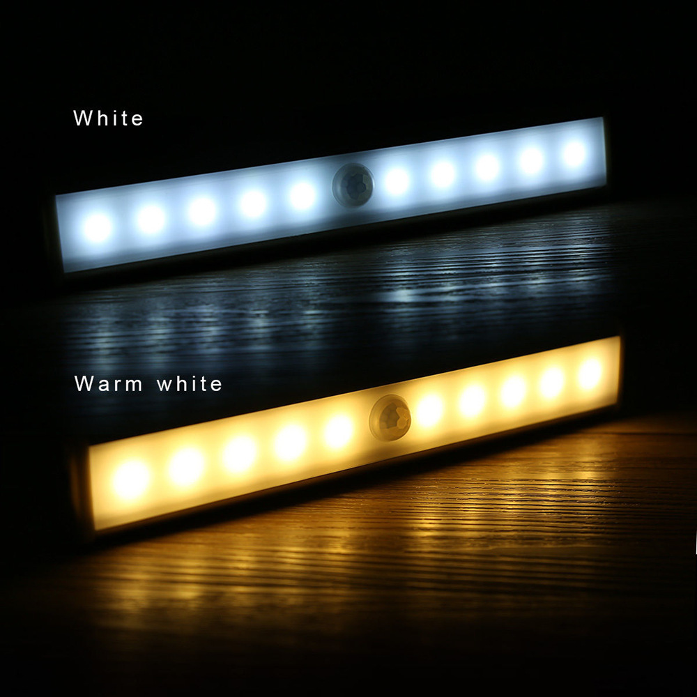 10LEDs PIR Motion Sensor LED Under Cabinet Light Ultra Slim Closet Lights Indoor Lighting Wall Lamp Rigid Strip Bar Light D35