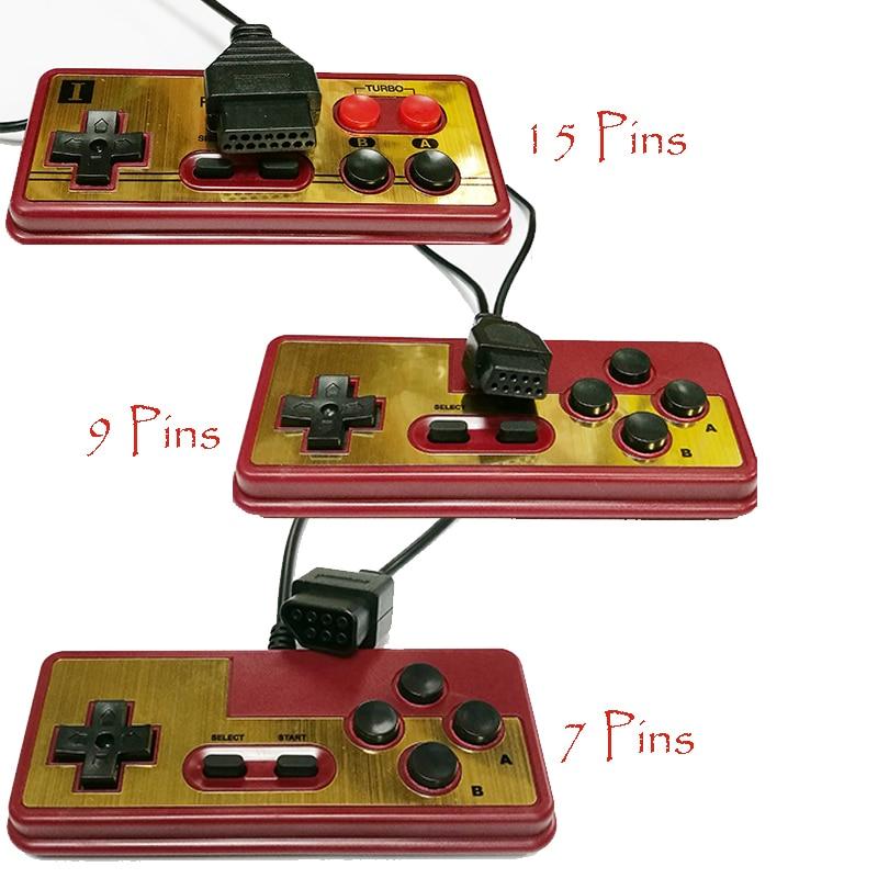 Кабельный геймпад с 7-контактным 9-контактным разъемом и 15-контактным разъемом, игровой контроллер для 8-битной игровой консоли с турбо-кнопк...