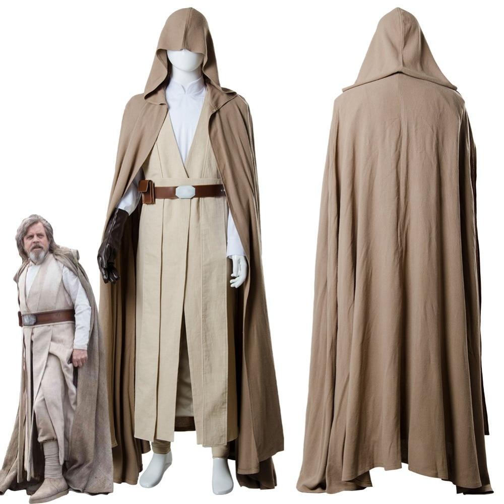 2018 Star Cosplay Wars 8 The Last Jedi Luke Skywalker Cosplay Costume Robe Halloween Carnival Costume For Adult Men