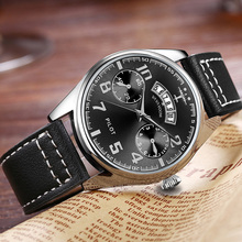 New Fashion Mens Pilot Sports Military Watches Leisure Business Watch Man Leather Belt Quartz Calendar Waterproof Wrist